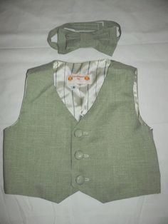 Baby/Toddler Boy's Green Linen Vest and Matching Bowtie- Size  4 by anncraftcorner on Etsy