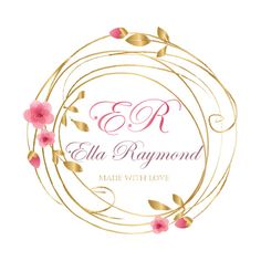 Custom logo design, cherry blossom wreath logo, pink gold logo, flowers wreath logo, round watermark, floral logo design, sakura logo design