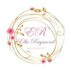 Custom logo design, cherry blossom wreath logo, pink gold logo, flowers wreath logo, round watermark, floral logo design, sakura logo design