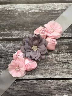 Pink and grey maternity sash, chiffon flowers, grey silk sash,child  sashes, baby girl maternity sash, pink sash, grey sash, pregnancy sash