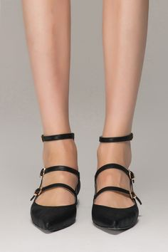 Flat Pointed Ankle Strap Shoes - FrontRowShop $102