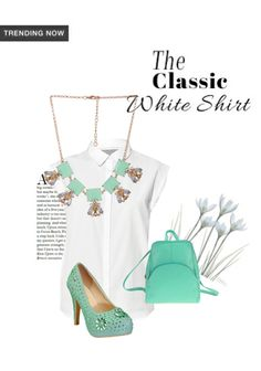 e9551704a 'The Classic white shirt' by me on Limeroad featuring Green Pumps, Pastels  Green