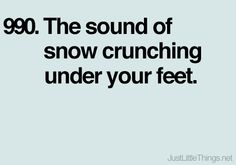 The sound of snow crunching under your feet. Just Little Things