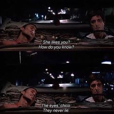 Top 100 scarface quotes photos the eyes chico, they never lie. Cinema Quotes, Film Quotes, Eye Quotes, Mood Quotes, Scarface Quotes, Scarface Movie, Movie Lines, She Likes, Quote Aesthetic