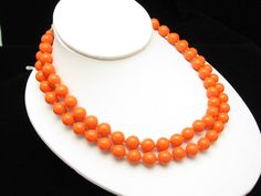 Vintage Necklace Orange Bead 2 Strand JAPAN by hawaiibeads2, $19.78