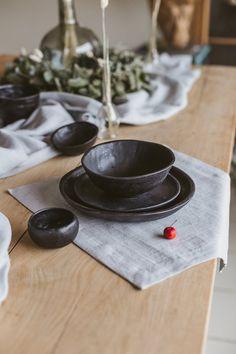 Ceramic dinnerware set of One-person ceramic dinner set, Stoneware dish set, Pottery dinner set, Alternative wedding table Stoneware Dinnerware Sets, Tableware, Ceramic Dinner Set, Cerámica Ideas, Pottery Plates, Dish Sets, Plates And Bowls, Dinner Sets, Dinner Plates