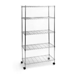Seville Classics 14'D x 30'W x 60'H 5-Tier Steel Wire Shelving System, Silver