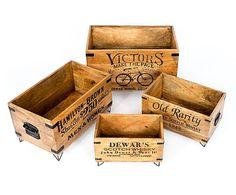 Set de 4 cajas en madera de mango Old