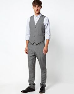 Order ASOS Slim Fit Trousers and Waistcoat online today at ASOS for fast delivery, multiple payment options and hassle-free returns (Ts&Cs apply). Get the latest trends with ASOS. Asos Men, Slim Fit Trousers, Mens Suits, Groomsmen, Gentleman, Normcore, Vest, Grey, Free Delivery