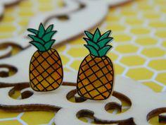 Pineapple Stud Earrings Shrink Plastic by PinkSunflowerStudio on Etsy
