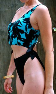 Tanning - 80s-style - Vintage 80s swimsuit from White Dove Vintage Clothing
