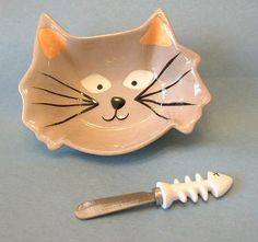 $12.95~~Purrfect for serving goodies--including salmon pate!=^..^= Cheese Spreaders, Man And Dog, Cat Party, Spoon Rest, Salmon, Goodies, Beautiful Kitchen, Cat Stuff, Cats