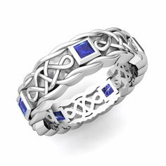 A beautiful celtic knot wedding band or anniversary ring set with princess cut natural blue sapphires #gorgeous