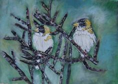 Female Evening Grosbeak 12 x 16 Acrylic on Canvas