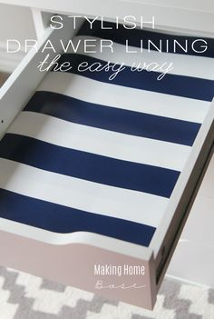 This is a great idea! Line desk drawers with wrapping paper for just $2.00 so clever and so pretty!