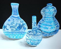 Ming Vases- oil pastel with gesso painted over-top, then scratch out designs