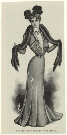 1900  A cloth dress braided with silver.