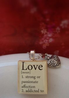 Love And Heart Charm Sterling Silver Scrabble Tile Necklace by Belle Bijou Atelier