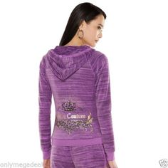 NWT-Juicy-Couture-Women-Track-suit-Jacket-Hoodie-Velour-Embellished-Purple-Small