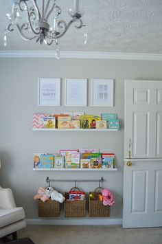 Reading Wall - love the idea of the hanging baskets! - Project Nursery