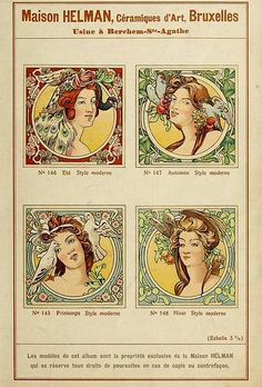 Art Nouveau Maison Helman, Art Tiles, Brussels Catalogue, ca. Seasons Of The Year, Four Seasons, Vintage Books, Vintage Art, Ste Agathe, Scrapbook, Tile Art, Illustrations And Posters, Children's Book Illustration