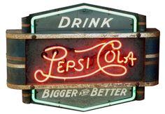 Rare Pepsi-Cola neon sign Coca Cola, Cola Wars, Radio Advertising, Diet Pepsi, Vintage Neon Signs, Neon Clock, Soda Fountain, Neon Light Signs, Old Signs