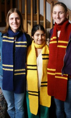 These Hogwarts house scarves are a must-have for any Harry Potter fan.  Although the designs used in the movies are knitted, this pattern produces a similar and equally charming result.      If you don't want to use the Hogwarts house colors for...