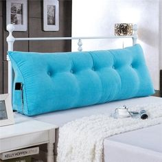 Sofa Bed Large Filled Triangular Wedge Cushion Bed Backrest Positioning Support Pillow Reading Pillow Office Lumbar Pad with Removable Cover Sky Blue Twin Pillow Headboard, Blue Headboard, Bed Pillows, Cushions, Bed Linens, Sofa Beds, Headboard Ideas, Futon Sofa, Daybed