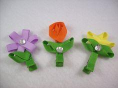 Flower Ribbon Sculpture Bows Set of 3 by sparklebystephanie, $9.00