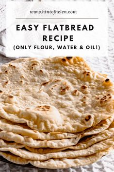 These delicous flatbreads are soft, fluffy and full of delicious bubbles. Made easily with just self rasing flour, oil and water. Soft Flatbread Recipe, Easy Flatbread Recipes, Flatbread Pizza, Easy Healthy Recipes, Vegan Recipes, Easy Meals, Cooking Recipes, Sweet Recipes, Easy Snacks