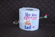 Decorative embroidered toilet paper-cotton tail by KidderbugKreations on Etsy
