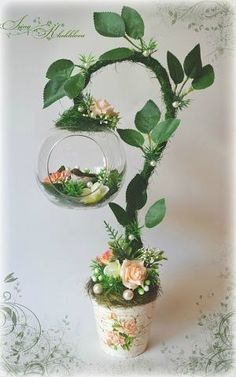 """Photo from album """"топиарий"""" on Yandex. Floating Tea Cup, Topiary Centerpieces, Teacup Crafts, Cup Art, Creation Deco, Deco Floral, Diy Home Crafts, Easter Crafts, Flower Decorations"""
