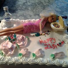 I made this for my friends 21st birthday! It's a drunk Barbie birthday cake