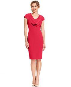 530111d63e Anne Klein Cap-Sleeve Cowl-Neck Sheath Dress   Reviews - Dresses - Women -  Macy s