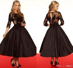 Vintage Black Lace Mother Of The Bride Tea Length Dresses With Scoop Neck 3/4 Sleeves Appliques Taffeta Skirts Ball Gown Wedding Dresses HDY