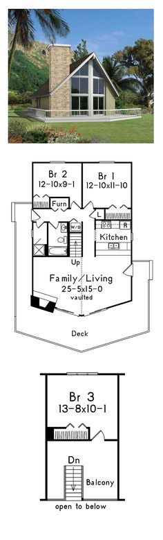 A-Frame House Plan 95995 | Total Living Area: 1316 sq. ft., 3 bedrooms and 1 bathrooms. #aframehouse