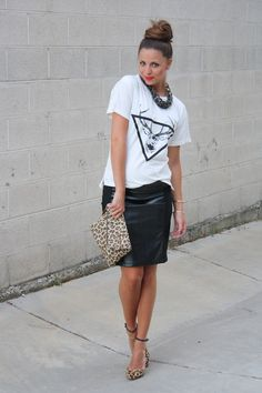 xoxo cleverly, yours: faux leather skirt + leopard heels