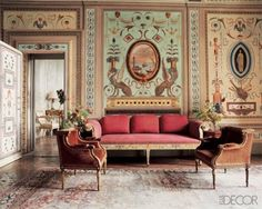 At Villa Le Rose, Leonardo and Maria Beatrice Ferragamo's 15th-century home outside of Florence, exquisite murals depicting classical architecture embellish the walls and ceiling of the estate's former ballroom. The frescoes date to the 18th-century and have been restored to their original glory.