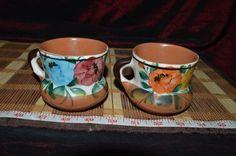 Mexican Pottery Terra Cotta Southwest Design 2 Coffee / Tea Mugs Cups Floral #Unknown