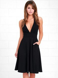 Deep V Neck Sleeveless Swing Party Dress - OASAP.com