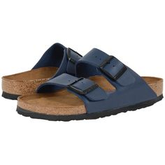 Birkenstock Arizona Soft Footbed Sandals ($110) ❤ liked on Polyvore featuring shoes, sandals, cork footbed shoes, cork sandals, arch support sandals, birkenstock shoes and special occasion sandals