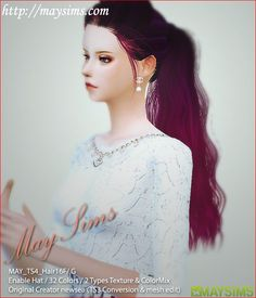 MAY Sims's May Hairstyle 16F / G retextured Long hairstyles for ~ Sims 4 Hairs