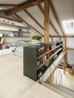 Attic Bedroom Designs, Attic Bedrooms, Attic Design, Bedroom Ideas, Interior Design, Huge Bedrooms, Interior Modern, Design Bedroom, Loft Room