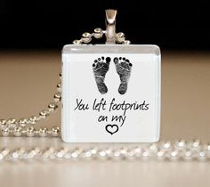 Footprints on my Heart Glass Tile Pendant by bugaboojewelry, $8.00