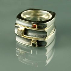 Stacking Rings | Konstanze ~ Node Form.  Sterling silver, 14k gold, rough diamond, orange sapphire and a green sapphire.