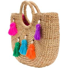 Jade Tribe Multicolor Tassel Pom Beach Basket Bag ($142) ❤ liked on Polyvore featuring bags, handbags, cotton handbags, cotton purse, multi color purse, tassel handbag and multi color handbag