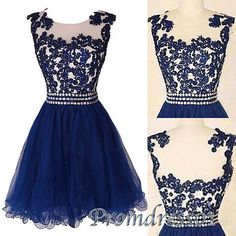 Cute lace short prom dress,homecoming dress, blue evening dress for teens