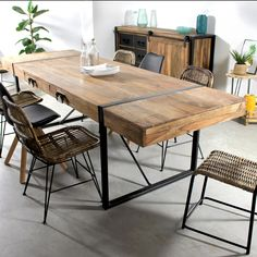 Dinner table Article Gallery Ideas] Related posts:sadie + stella: Monday Musings: Major Dining RoomsConsole Preusser, Tasting Table – Tiger Maple - A narrow Dining Room Console with Wine Rack . Table Seating, Table And Chairs, Dining Tables, A Table, Boho Living Room, Living Room Decor, Diner Table, Industrial Dining, Home Interior