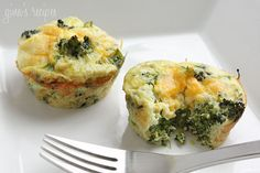 Broccoli and Cheese Mini Egg Omelets - Cute little baked omelets using your favorite omelets baked in cupcake tins. (Low Carb)