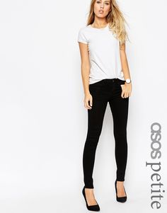 Image 1 ofASOS PETITE 'Sculpt Me' Premium Jeans in Clean Black